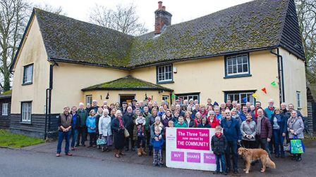 Shareholders of The Three Tuns, Guilden Morden, who now own the pub. Picture: Greg Butterworth