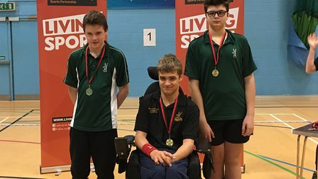 The successful Hinchingbrooke School team who won the Physical Disability competition.