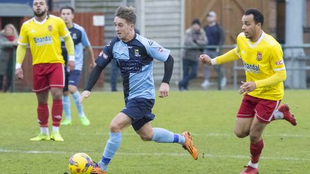 Johnny Herd bursts forward for St Neots Town against Stourbridge. Picture: CLAIRE HOWES