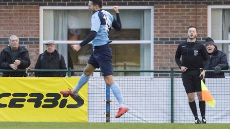 Dylan Williams celebrates his goal which gave St Neots Town the lead against Stourbridge. Picture: C