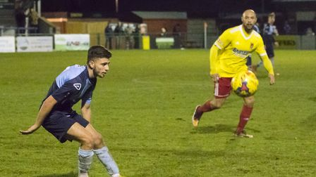 New signing Andrea Borg during his St Neots Town debut against Stourbridge. Picture: CLAIRE HOWES