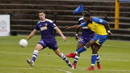 Michael Clark in action for East Thurrock United in January in a match won 7-2 by St Albans City. Pi