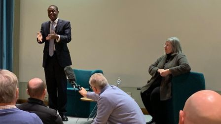 Bim Afolami addressing a Harpenden meeting on Brexit, with Cllr Mary Maynard to his left.