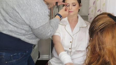 Tasha Burton getting her makeup done. Picture: Ayeesha Walsh at Moments in Eternity Wedding Photogr