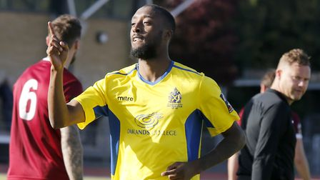 Ralston Gabriel celebrates the first of his four goals at Chelmsford City. Picture: LEIGH PAGE