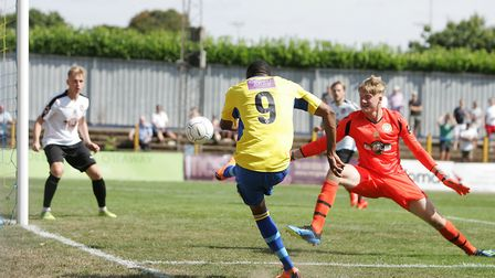 Ralston Gabriel scored twice on his debut for St Albans City against Hungerford Town in August. P
