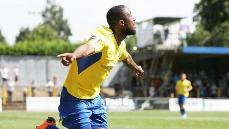 Ralston Gabriel celebrates his debut goal for St Albans City against Hungerford Town. Picture: Ka