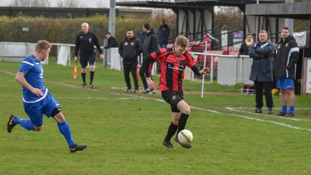 Mark Wilde in action for Huntingdon Town as they lost to Rushden & Higham. Picture: J BIGGS PHOTOGRA