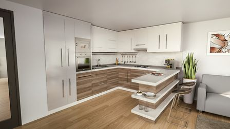 CGI of how a typical kitchen will look at Essex House. Picture: Aitchisons