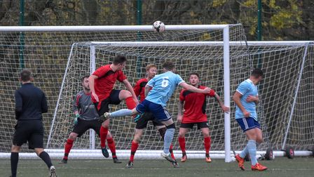 Action from the Hunts Intermediate Cup quarter-final between AFC Barley Mow and Brampton. Picture: J