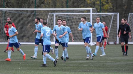 AFC Barley Mow players celebrate a goal against Brampton. Picture: J BIGGS PHOTOGRAPHY