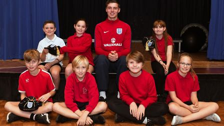 Paralympic England goalkeeper Ryan Kay with pupils