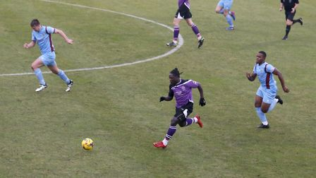 Solomon Sambou scored the Saints equaliser to earn a replay. Picture: LEIGH PAGE