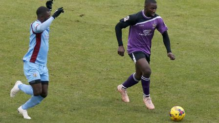 Percy Kiangebeni in action against Weymouth. Picture: LEIGH PAGE