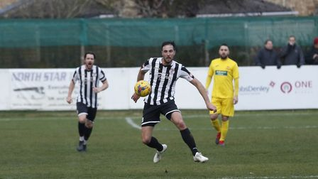 Danny Kelly scored a fine goal for St Ives Town against Banbury. Picture: LOUISE THOMPSON