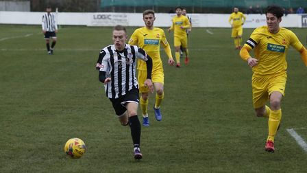 Ben Baker on the ball during St Ives Town's draw against Banbury. Picture: LOUISE THOMPSON