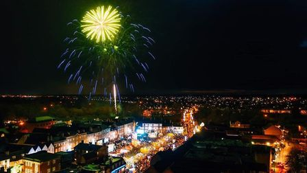 An aerial shot of the fireworks at Sunday's lights switch on in St Neots. www.maciekplatek.com