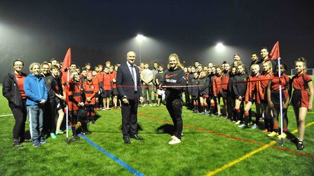 Saracens rugby captain Lotte Clapp opened the new 3G pitch at Sandringham School, Picture: Chris Blo
