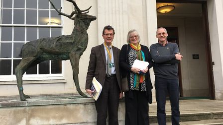 Sandy Walkington, Janet Charles and Andy Lunn at Hertfordshire County Hall on Tuesday.