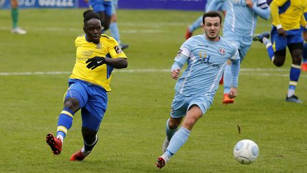 Solomon Sambou drew St Albans City level early in the second half at Weymouth. Picture: LEIGH PAGE