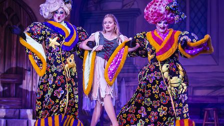 The Ugly sisters and Cinderella (Jemma Carlisle) in pantomime Cinderella at The Alban Arena in St Al