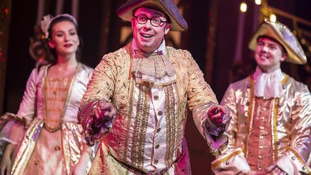 Bob Golding as Dandini in pantomime Cinderella at The Alban Arena in St Albans. Picture: Pamela Rait