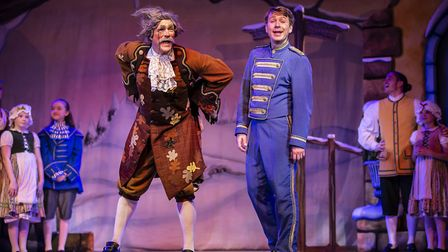 Ian Kirkby as Baron Hardup and Ben Faulks as Buttons in pantomime Cinderella at The Alban Arena in S