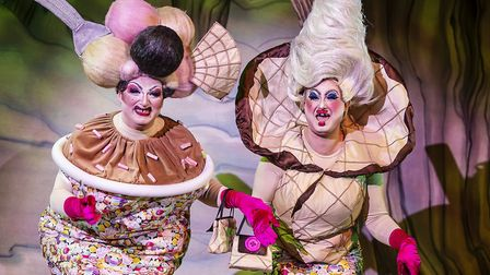 The Ugly sisters in pantomime Cinderella at The Alban Arena in St Albans. Picture: Pamela Raith Phot