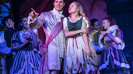 Prince Charming (Kane Oliver Parry) and Cinderella (Jemma Carlisle) in pantomime Cinderella at The A