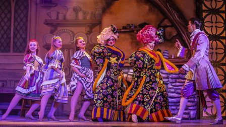 The Ugly sisters and Prince Charming in pantomime Cinderella at The Alban Arena in St Albans. Pictur