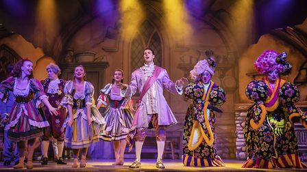 Prince Charming and the Ugly sisters in pantomime Cinderella at The Alban Arena in St Albans. Pictur