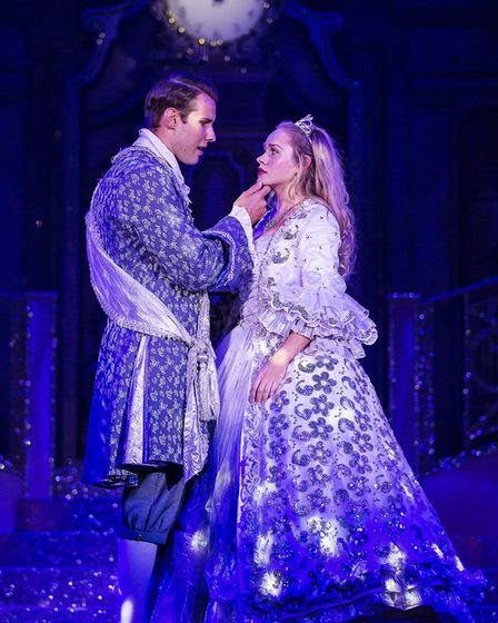Prince Charming (Kane Oliver Parry) and Cinderella (Jemma Carlisle) at the ball in panto Cinderella