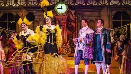 The Ugly sisters at the ball with Prince Charming and Dandini in pantomime Cinderella at The Alban A