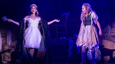The Fairy Godmother (Rachel Stevens) and Cinders (Jemma Carlisle) in pantomime Cinderella at The Alb