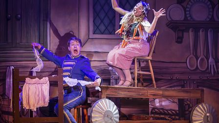 Buttons (Ben Faulks) and Cinders (Jemma Carlisle) in pantomime Cinderella at The Alban Arena in St A