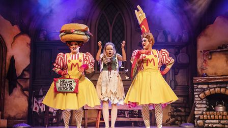 The Ugly sisters bullying Cinderella (Jemma Carlisle) in Pantomime Cinderella at The Alban Arena in