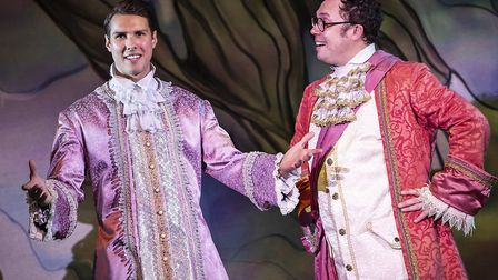 Prince Charming (Kane Oliver Parry) and Dandini (Bob Golding) in pantomime Cinderella at The Alban A