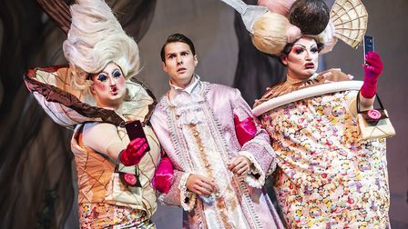 The Ugly sisters Donaldina and Melania with Prince Charming in pantomime Cinderella at The Alban Are