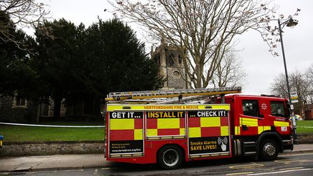 Emergency services on the scene at Royston St John the Baptist Church, Melbourn Street after a fire