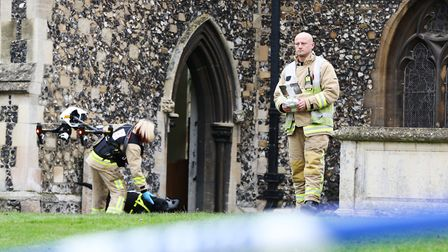 A Hertfordshire Fire and Rescue drone checks out the damage at Royston St John the Baptist Church, M