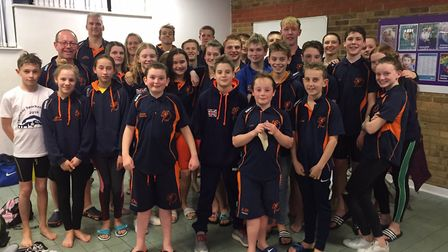 The St Ives Swimming Club squad at the Arena National League final.