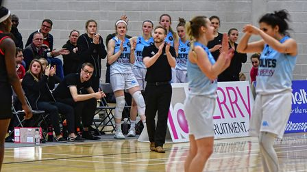 Oaklands Wolves celebrate after their WBBL success over Essex Rebels. Picture: Raphael Ametrano