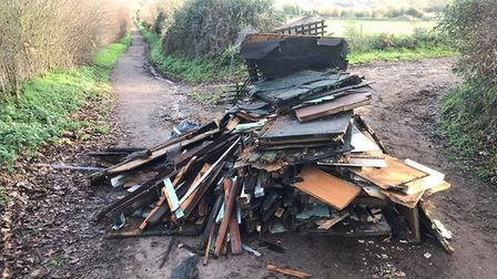 The fly-tip leading to Heartwood Forest. Picture: Albert Callewaert