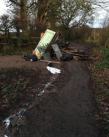 The fly-tip leading to Heartwood Forest. Picture: Caroline Foster
