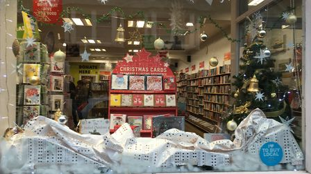 The St Albans Advent Trail window at the Oxfam Bookshop. Picture: Anne Suslak