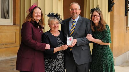 Melvyn Teare with his wife Heather Teare and daughters Emma Skipp and Catherine Wright. Picture: Joh