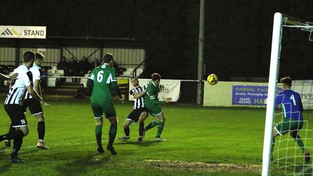 Ben Jackson hits a late winner for St Ives Town as they beat Bedworth. Picture: LOUISE THOMPSON