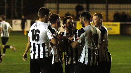 St Ives Town players celebrate their equaliser against Bedworth. Picture: LOUISE THOMPSON