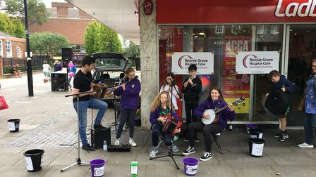 Musicians playing at St Albans Band Aid. Picture: Dene Rosewarn