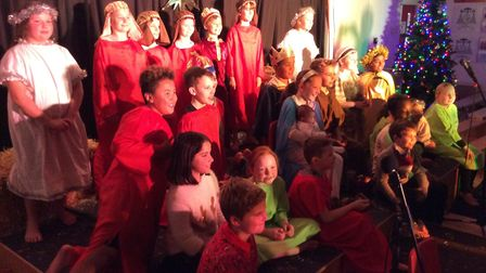 St Bernadette's Primary School in London Colney held a nativity play with a real donkey and real bab